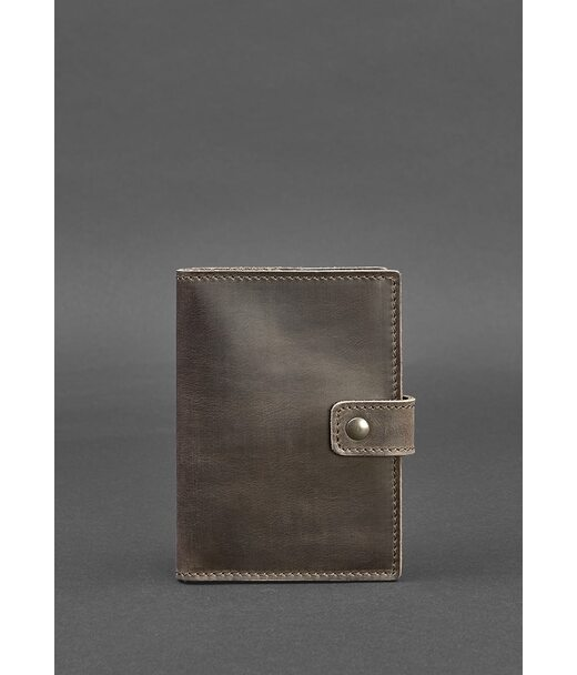 Кожаная обложка для паспорта 5.0 (с окошком) темно-коричневая - BN-OP-5-o BlankNote