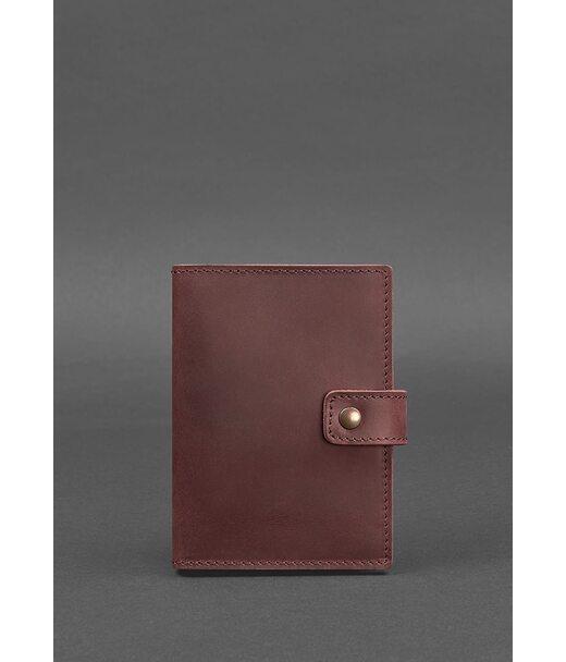 Женская кожаная обложка для паспорта 5.0 (с окошком) бордовая Crazy Horse - BN-OP-5-vin-kr BlankNote