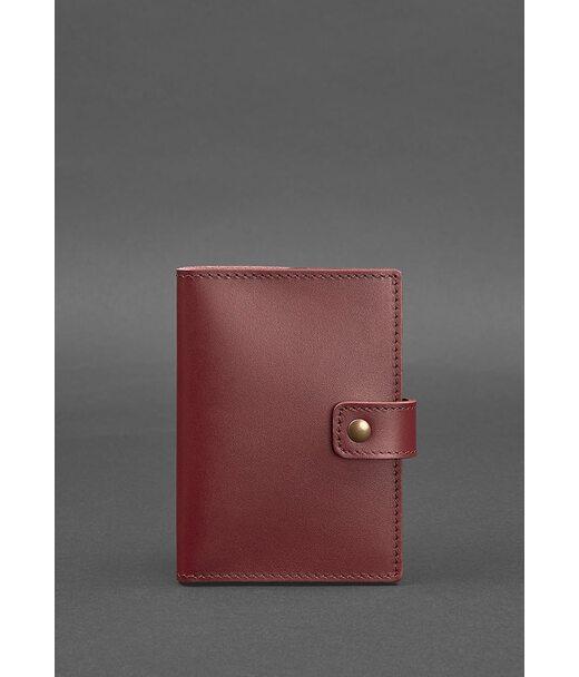 Женская кожаная обложка для паспорта 5.0 (с окошком) бордовая Краст - BN-OP-5-vin BlankNote