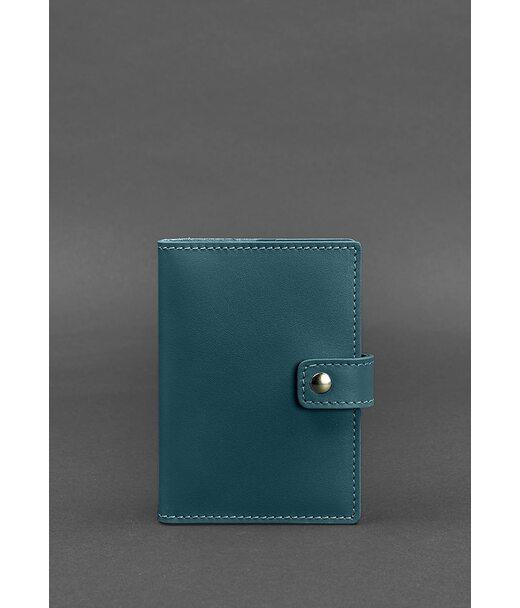 Кожаная обложка для паспорта 5.0 (с окошком) зеленая - BN-OP-5-malachite BlankNote
