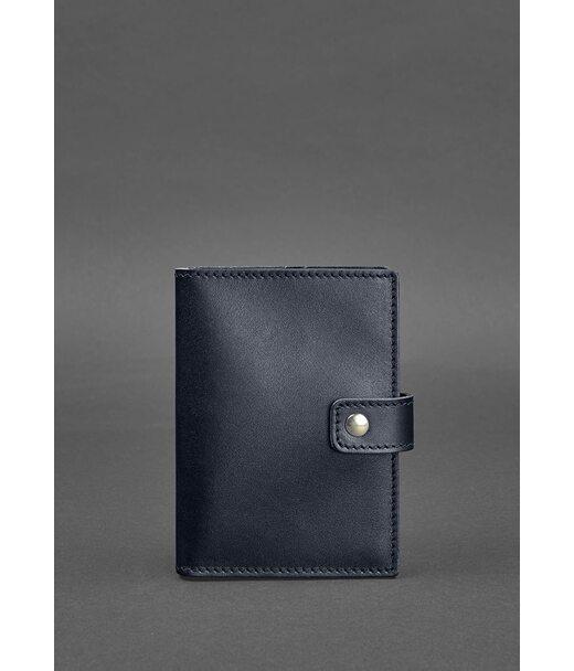 Кожаная обложка для паспорта 5.0 (с окошком) темно-синяя Краст - BN-OP-5-navy-blue BlankNote