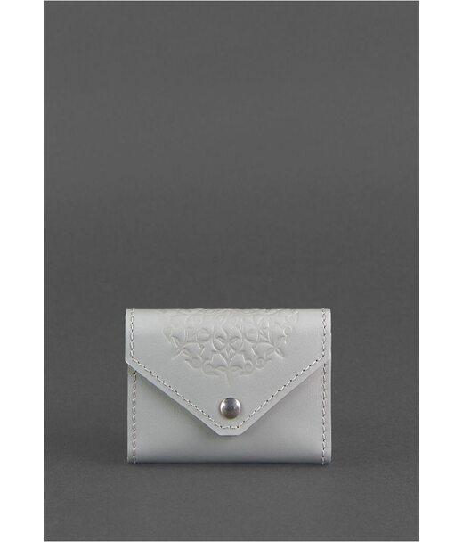 Жіночий шкіряний кард-кейс 3.0 (Гармошка) Сірий з мандалою - BN-KK-3-shadow BlankNote