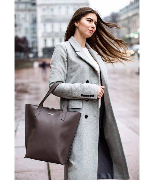 Шкіряна жіноча сумка шоппер D. D. темно-бежева - BN-BAG-17-beige BlankNote