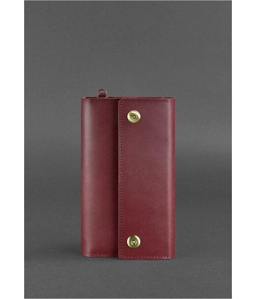 Кожаный женский клатч-органайзер (Тревел-кейс) 5.0 бордовый - BN-TK-5-vin BlankNote