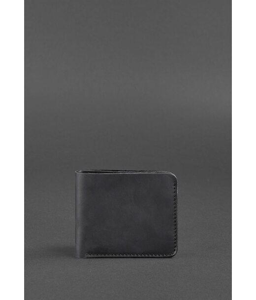 Чоловіче шкіряне портмоне 4.1 (4 кишені) чорне Crazy Horse - BN-PM-4-1-g-kr BlankNote
