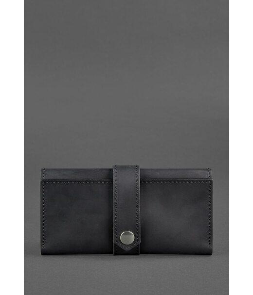 Шкіряне жіноче портмоне 3.0 чорне Crazy Horse - BN-PM-3-g-kr BlankNote