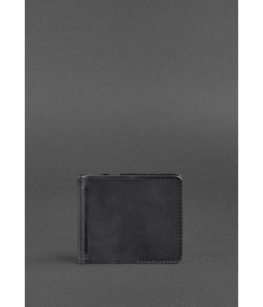Чоловіче шкіряне портмоне чорне 1.0 затиск для грошей Crazy Horse - BN-PM-1-g-kr BlankNote