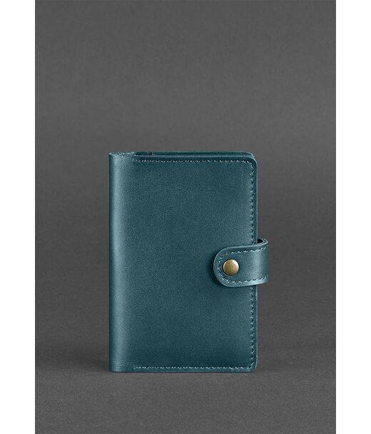 Женская кожаная обложка для паспорта 3.0 зеленая - BN-OP-3-malachite BlankNote