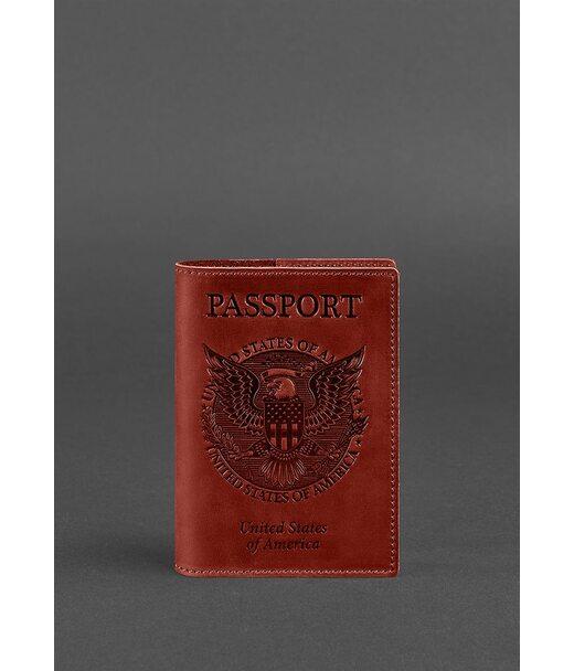 Женская кожаная обложка для паспорта коралловая с американским гербом - BN-OP-USA-coral BlankNote