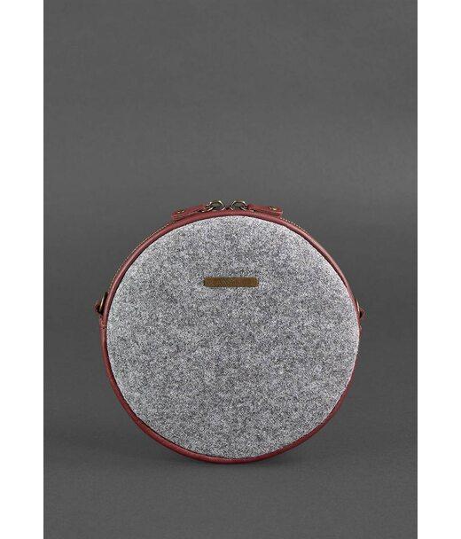 Кругла фетрова жіноча сумка Таблетка з шкіряними бордовими вставками - BN-BAG-23-felt-vin BlankNote