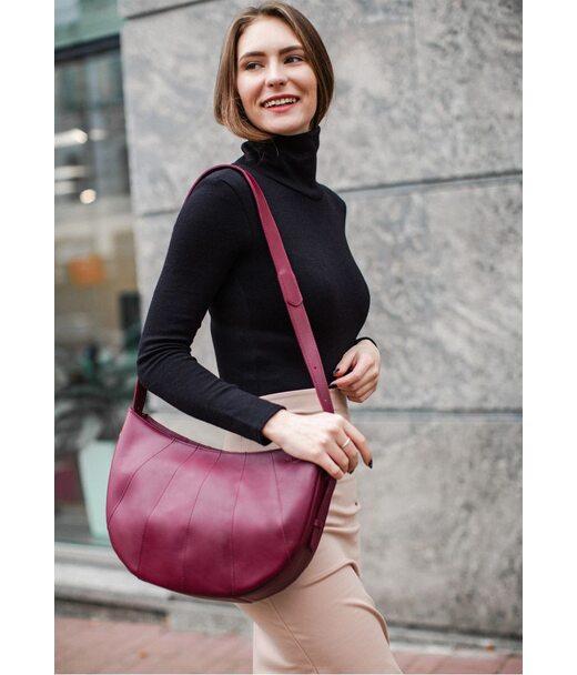 Шкіряна жіноча сумка Круасан Krast бордова - BN-BAG-12-vin BlankNote