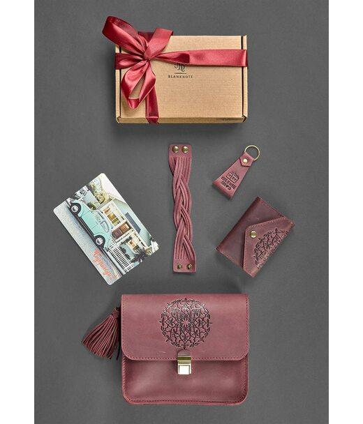 Подарунковий жіночий набір шкіряних аксесуарів Бордо crazy horse - BN-set-access-14-kr BlankNote