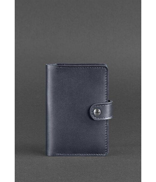 Кожаная обложка для паспорта 3.0 темно-синяя - BN-OP-3-navy-blue BlankNote