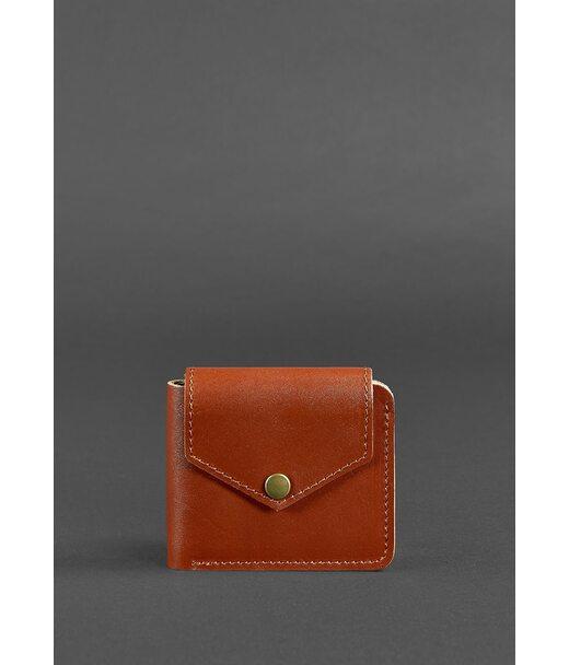 Кожаное портмоне 4.2 на кнопке светло-коричневое - BN-PM-4-2-k BlankNote
