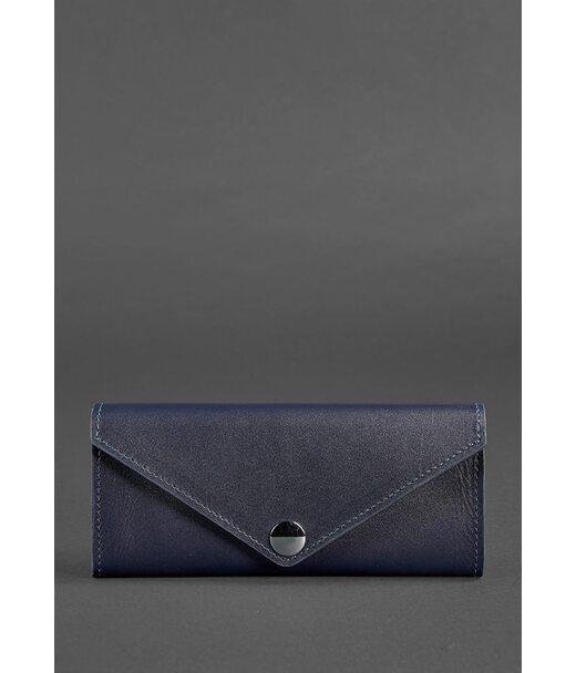 Жіночий шкіряний гаманець Керрі 1.0 темно-синій - BN-W-1-navy-blue BlankNote