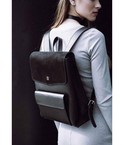 Женский кожаный городской рюкзак черный Blank - Black Point - Blank-Bag-1 BlankNote