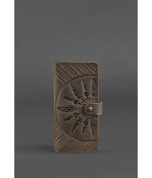 Кожаное женское портмоне 7.0 Инди темно-коричневое - BN-PM-7-o-ls BlankNote