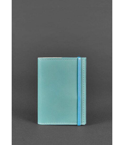 Кожаная женская обложка для паспорта  1.0 бирюзовая - BN-OP-1-tiffany BlankNote