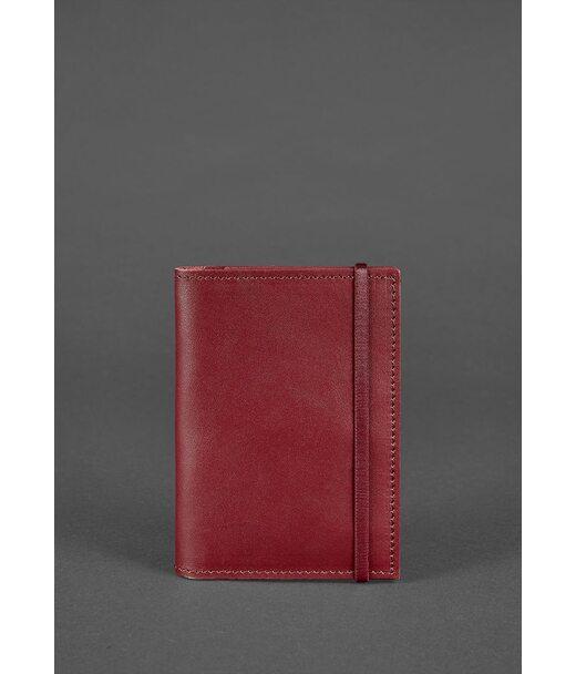 Кожаная обложка для паспорта 2.0 бордовая Краст - BN-OP-2-vin BlankNote