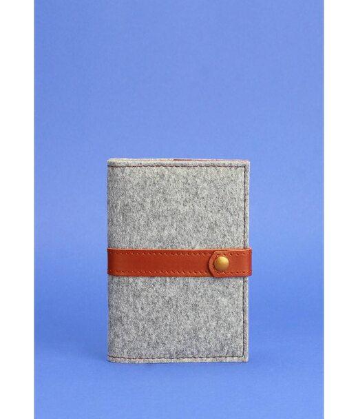 Фетровая обложка для паспорта 1.1 с кожаными коричневыми вставками - BN-OP-1-1-felt-k BlankNote