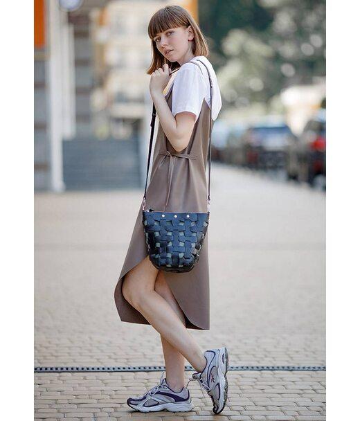 Шкіряна плетена жіноча сумка Пазл M чорна Krast - BN-BAG-32-g BlankNote