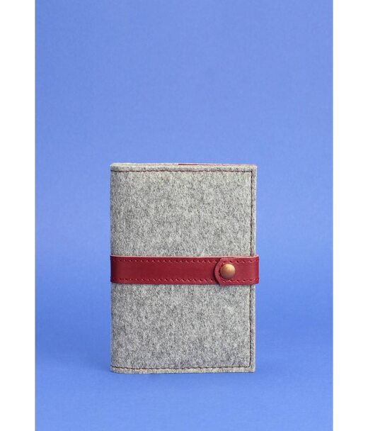 Фетровая обложка для паспорта 1.1 с кожаными бордовыми вставками - BN-OP-1-1-felt-vin BlankNote