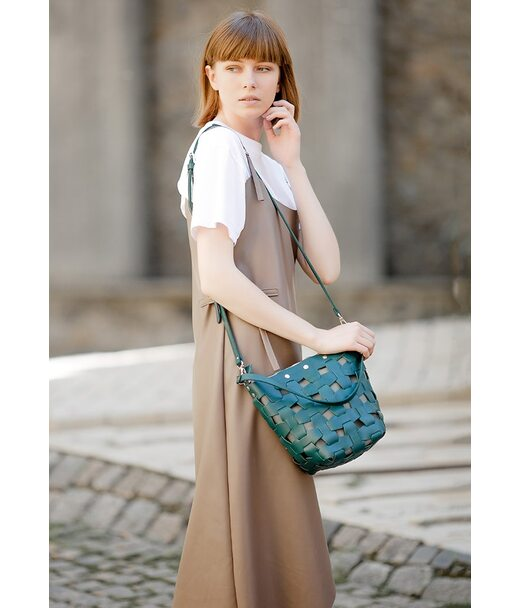 Шкіряна плетена жіноча сумка Пазл M зелена Krast - BN-BAG-32-malachite BlankNote
