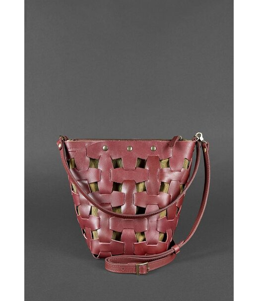 Шкіряна плетена жіноча сумка Пазл M бордова Krast - BN-BAG-32-vin BlankNote
