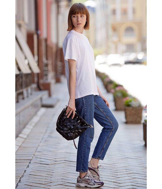 Шкіряна плетена жіноча сумка Пазл M вугільно-чорна - BN-BAG-32-ygol BlankNote