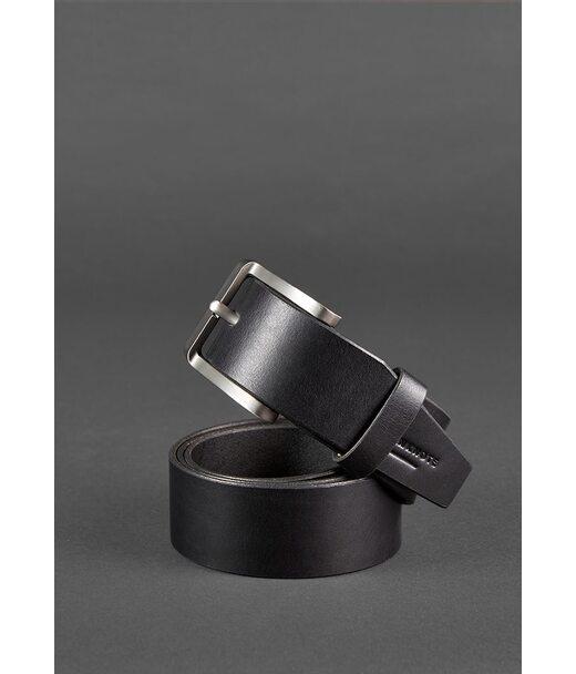 Чоловічий шкіряний ремінь 40 мм чорний - BN-BELT-2-raven BlankNote