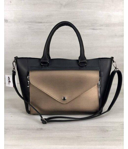Стильна молодіжна сумка Сагарі чорний з бронзою WeLassie