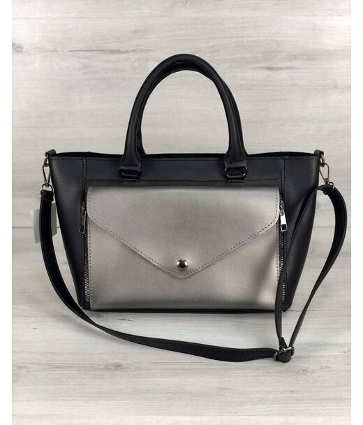Стильна молодіжна сумка Сагарі чорний з металіком WeLassie