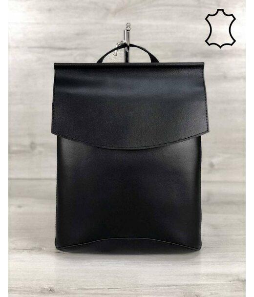Шкіряна сумка рюкзак молодіжний чорного кольору WeLassie