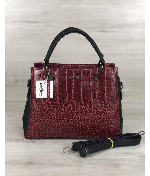 Стильна жіноча сумка Грана червоний крокодил WeLassie