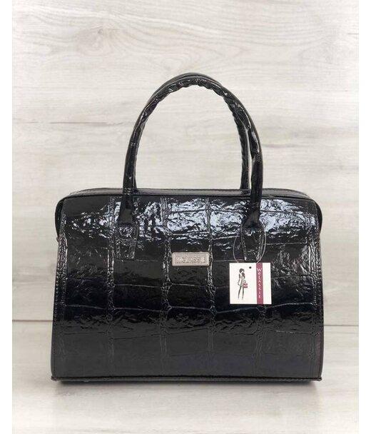 Каркасна жіноча сумка Саквояж чорний лаковий (нікель) WeLassie