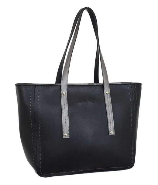 624 сумка экокожа черная серебро Lucherino