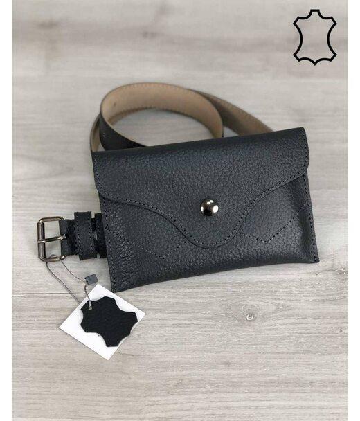 Шкіряна жіноча сумка на пояс Pauli сірого кольору WeLassie