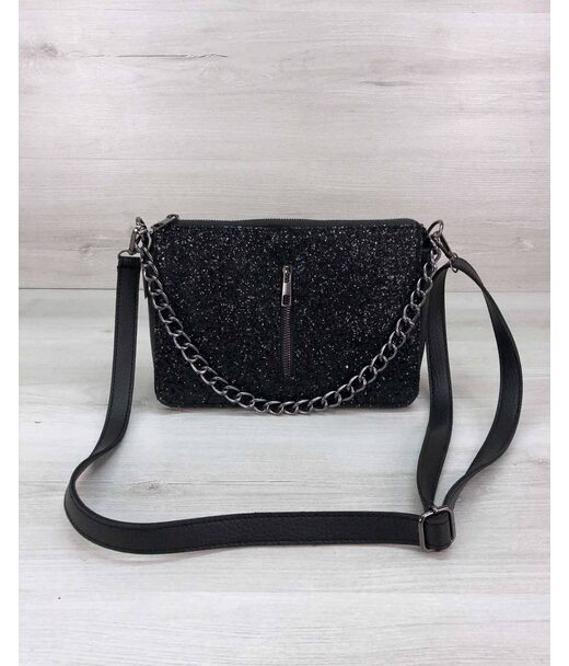 Стильна сумка-клатч Tina зі вставкою чорний блиск WeLassie