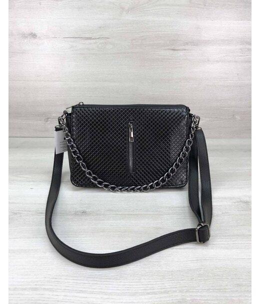 Стильна сумка-клатч Tina зі вставкою чорний лак WeLassie