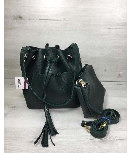 Молодіжна сумка з еко-шкіри Люверс зеленого кольору WeLassie