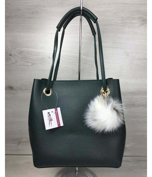 2в1 Молодіжна жіноча сумка Пушок зеленого кольору WeLassie
