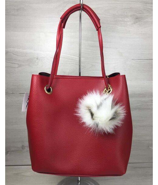 2в1 Молодежная женская сумка Пушок красного цвета WeLassie
