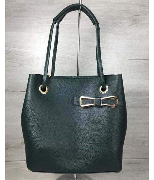 2в1 Молодежная женская сумка Бантик зеленого цвета WeLassie