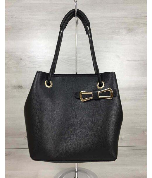2в1 Молодіжна жіноча сумка Бантик чорного кольору WeLassie