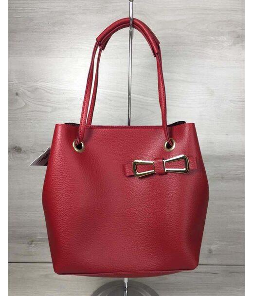 2в1 Молодежная женская сумка Бантик красного цвета WeLassie