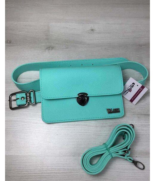 Жіноча сумка на пояс - клатч Арья м'ятного кольору WeLassie