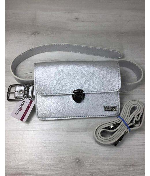 Жіноча сумка на пояс - клатч Арья срібного кольору WeLassie