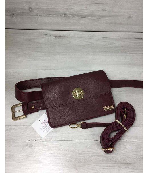 Жіноча сумка на пояс - клатч Арья бордового кольору WeLassie