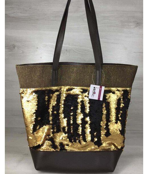 Сумка Резинка коричневого цвета с пайетками золото-черный WeLassie