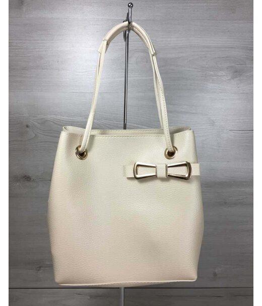 2в1 Молодіжна жіноча сумка Бантик бежевого кольору WeLassie